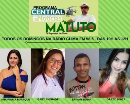 """ACOMPANHE O VÍDEO DO PROGRAMA """"CENTRAL DE NOTÍCIAS DO MATUTO"""" DO DOMINGO  (30) 109616d9eb"""